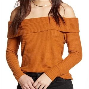 Bp. Off The Shoulder Ribbed Sweater Size M